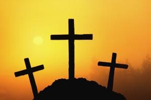 Silhouettes of Three Crosses